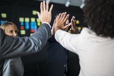 Free Man And Woman Doing High Five Stock Image - 116371541