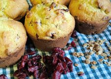 Free Cranberry Oatmeal Breakfast Muffins On Background Of Blue-green Gingham Royalty Free Stock Images - 116428579