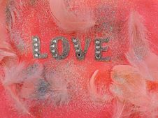 Free Pink Love Fabric Decor With Feathers Stock Images - 116433974