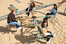 Free Pretty Girls Riding Merry-go-round Stock Photos - 11659883
