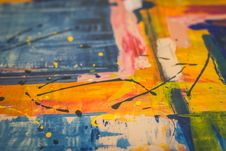 Free Blue And Yellow Abstract Painting Stock Photography - 116504672