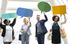 Free Group Of People Holding Message Boards Stock Photos - 116504693