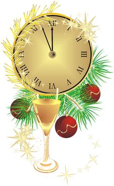 Glass, Clock And Fur-tree With Christmas Balls Stock Images