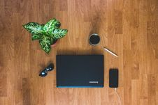 Free Top View Photo Of Laptop Mobile Phone Royalty Free Stock Photography - 116695197