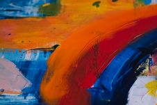 Free Orange And Multicolored Abstract Painting Stock Images - 116695214