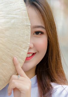 Free Photo Woman Hiding On Asian Conical Hat Stock Images - 116695324