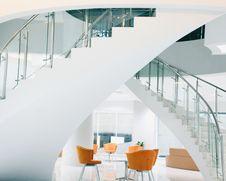 Free Orange Chairs Near Staircase Stock Image - 116695501