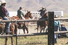 Free Three Men Riding Horses Stock Photography - 116695662