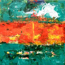 Free Green, Orange, And Yellow Abstract Painting Royalty Free Stock Photos - 116695838