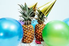 Free Two Pineapples And Balloons Stock Image - 116695901