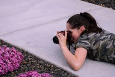 Free Woman Lying On Pavement While Taking Photo Royalty Free Stock Photography - 116696147