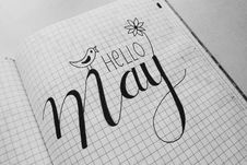 Free White Graphing Paper With Hello May Text Royalty Free Stock Photo - 116776125