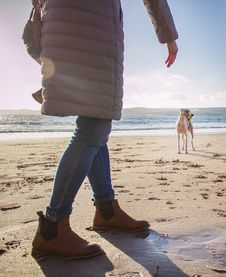 Free Person In Bubble Coat Walking On Beach Near Dog At Daytime Royalty Free Stock Photos - 116776198