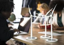 Free Three White Windmills Figure Table Decors Stock Photo - 116776310