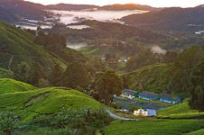 Free High Angle Photography Of Village On Green Mountains Royalty Free Stock Images - 116776349