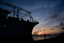 Free Silhouette Of Ship Docked Stock Image - 116776531