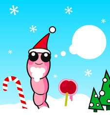 Free Xmas Worm Vector Illustration Stock Photo - 11682850