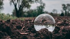 Free Closeup Photo Of Clear Glass Ball On Soil Royalty Free Stock Photography - 116853877