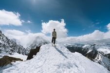 Free Person Standing On Slope Glacier Mountain Royalty Free Stock Photography - 116853957