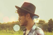 Free Man Wearing Black Hat And Sunglasses Stock Image - 116854351
