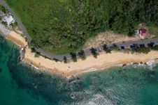 Free Aerial View Of Ocean And Trees Stock Photography - 116927812