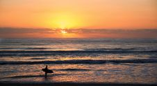 Free Photo Of Surfer In Rule Of Thirds Photography During Sunset Stock Photography - 116928002