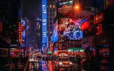 Free Stranger Things 2 Sign In City At Night Stock Images - 116928004
