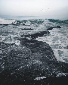 Free Landscape Photography Of Body Of Water Smashing In The Rocks Stock Image - 116984461