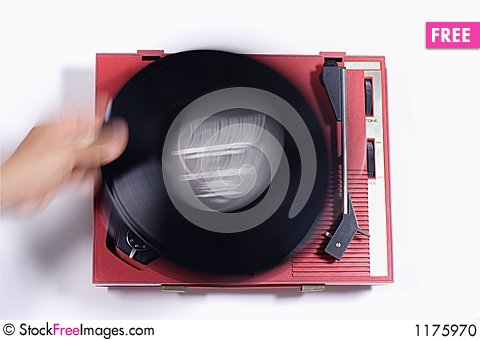Red record player Stock Photo