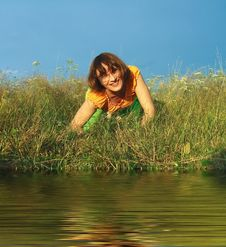 Girl On Grass Stock Photos