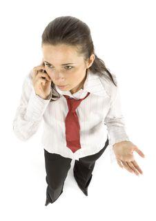 Businesswoman Talks To Via Mobile Phone Royalty Free Stock Photos