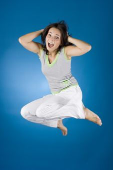 Free Happy Woman On The Blue Background Stock Photography - 1173112
