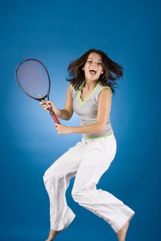 Free Happy Woman With Tennis Racket Royalty Free Stock Photography - 1173257