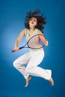 Free Happy Woman With Tennis Racket Stock Images - 1173264