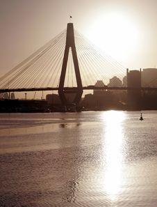 Anzac Bridge In Evening Light Royalty Free Stock Photography