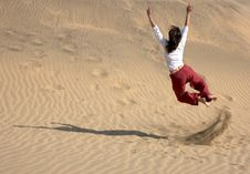 Free Chaplin Jumping In The Dunes Stock Image - 1176061