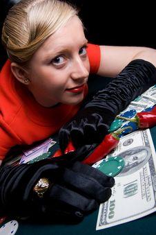 Free Gambling Young Woman Royalty Free Stock Image - 11715606