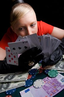 Free Young Smiling Woman On The Poker Table Stock Photo - 11715610