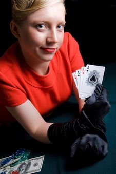 Gambling Young Woman Stock Photos