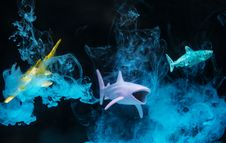 Free Three Plastic Toy Fish Underwater Royalty Free Stock Photos - 117112388