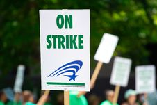 Free People Rallying Carrying On Strike Signage Stock Image - 117112451