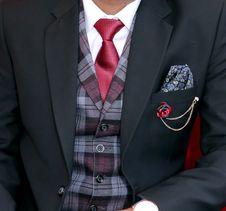 Free Man Wearing Black Notched Lapel Suit Jacket Stock Image - 117112581