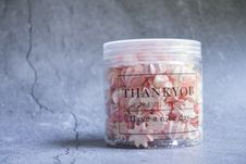 Free Sugar Treats Filled Plastic Jar With Thank You Print Stock Photo - 117112820