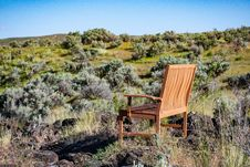 Free Brown Wooden Armchair On Green Grass Stock Images - 117113024