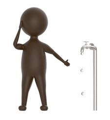 Free 3d Brown Character Pointing Out A Leaking Water Tap Stock Photo - 117245620