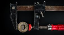 Free Black And Red Caliper On Gold-colored Bitcoin Stock Image - 117352471