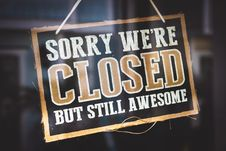 Free Sorry We Re Closed But Still Awesome Tag Royalty Free Stock Photo - 117352515