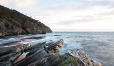 Free Time Lapse Photo Of Rocky Beach Royalty Free Stock Image - 117421046