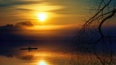 Free Man Riding Boat During Sunset Stock Images - 117536854