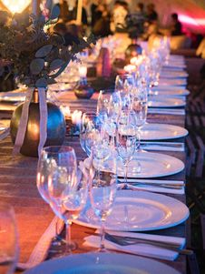 Free Plates And Wine Glass On Table Royalty Free Stock Photos - 117536968